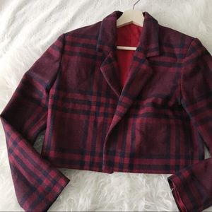 Cropped Vintage Plaid Jacket